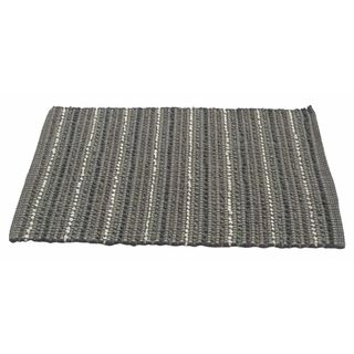 Grey Iris Cross-woven Grey Cotton Rag Rug