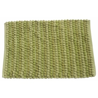 Benzara Pebbles Green Cotton Cross Woven Rug