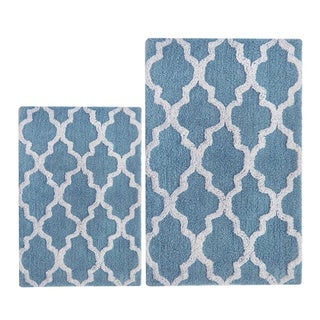 Benzara Smoke Blue and White Cotton Damask Bath Set (2-piece Set)