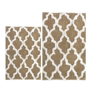 Benzara Beige White Damask Cotton Bath Mat (2-piece Set)