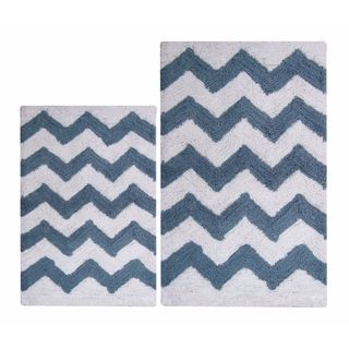 Benzara Smoke Blue/White Chevron Bath Set (2-piece Set)