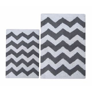 Charcoal Grey-White Chevron 2 Pc Bath Set