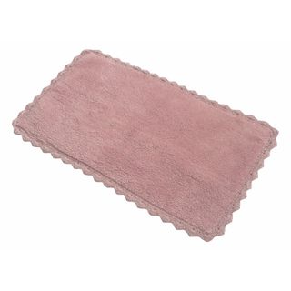 Benzara Pink Cotton Crochet Bath Mat