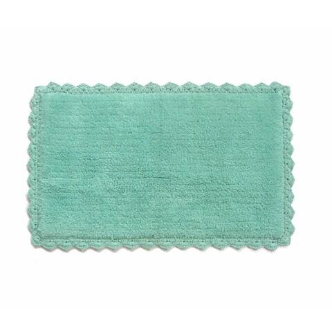 Benzara Aqua Blue Cotton Crochet Mat
