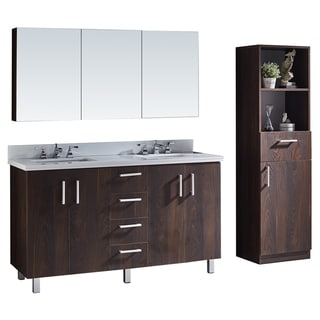 60-inch Bathroom Vanity with Grey Artificial Marble Top in Brown Elm Wood Texture Finish with Matching Mirror and Linen Tower