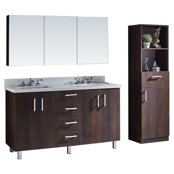 Shop Phoenix White Marble Top 60 Inch Double Sink Bathroom Vanity With Matching Mirror Cabinet