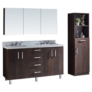 Phoenix White Marble Top Brown Elm Wood Texture Finish 60-inch Bathroom Vanity with Matching Mirror and Linen Tower