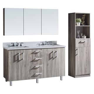 Infurniture Grey Walnut Wood and Metal 60-inch Bathroom Vanity With Mirror and Linen Tower