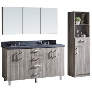 Grey Artificial Marble 60-inch Finish Bathroom Vanity with Matching Mirror and Linen Tower