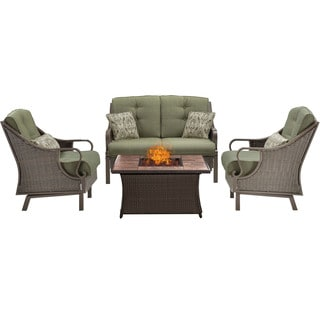 Hanover Outdoor Ventura 4-Piece Fire Pit Chat Set in Vintage Meadow