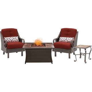 Hanover Outdoor Ventura Fire Pit Chat Set in Crimson Red