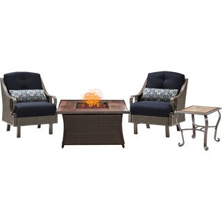 Hanover Outdoor Ventura Fire Pit Chat Set in Navy Blue