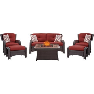 Hanover Outdoor Strathmere 6-Piece Lounge Set In Crimson Red with Fire Pit Table