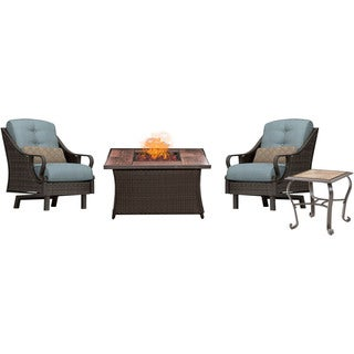 Hanover Outdoor Ventura Fire Pit Chat Set in Ocean Blue