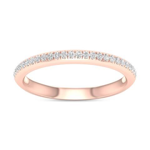 De Couer IGI Certified 10k Rose Gold 1/10ct TDW Wedding Band - Pink