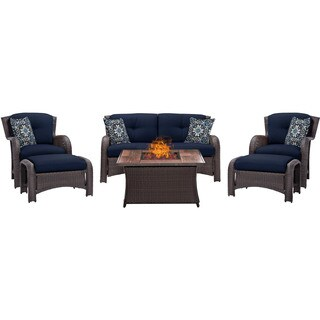 Hanover Outdoor Strathmere 6-Piece Lounge Set in Navy Blue with Fire Pit Table