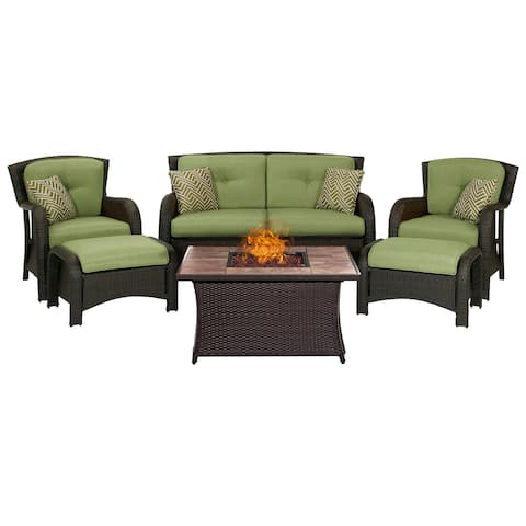 Hanover Outdoor Strathmere 6-Piece Lounge Set In Cilantro Green with Fire Pit Table