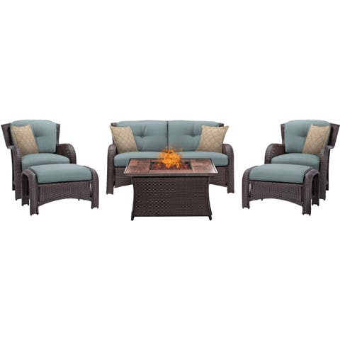 Hanover Outdoor Strathmere 6-Piece Lounge Set In Ocean Blue with Fire Pit Table