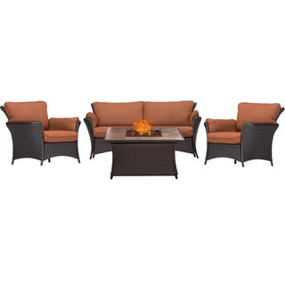 Hanover Outdoor Strathmere Allure 4-Piece Lounge Set with 40,000 BTU Fire Pit Table
