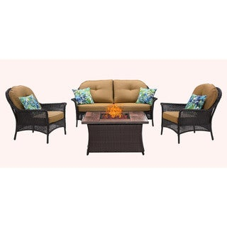 Hanover Outdoor San Marino 4-Piece Fire Pit Lounge Set in Country Cork