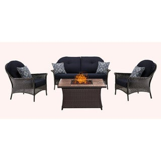 Hanover Outdoor San Marino 4-Piece Fire Pit Lounge Set in Navy Blue