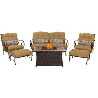 Hanover Outdoor Oceana 6-Piece Lounge Set in Country Cork with LP Gas Fire Pit
