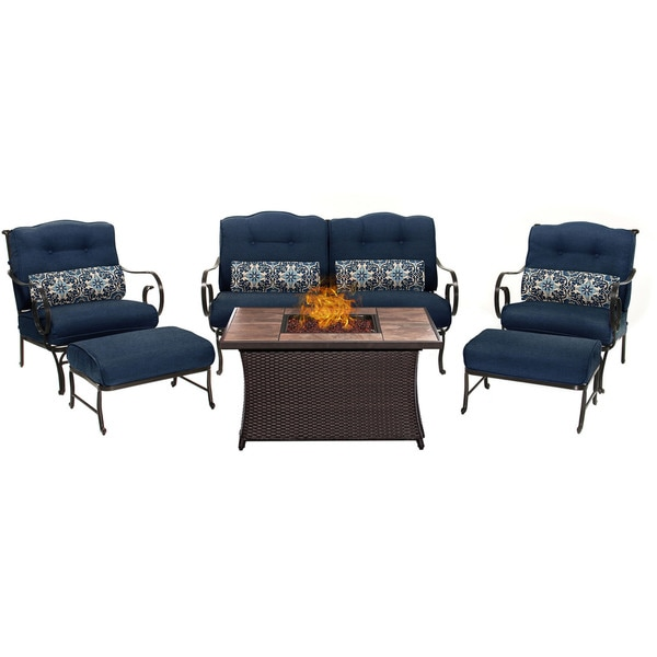 Shop Hanover Outdoor Oceana 6-Piece Lounge Set in Navy ... on Safavieh Outdoor Living Granton 5 Pc Living Set id=89825