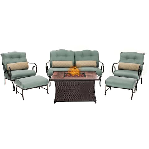Hanover Outdoor Oceana 6-Piece Lounge Set in Ocean Blue with LP Gas Fire Pit