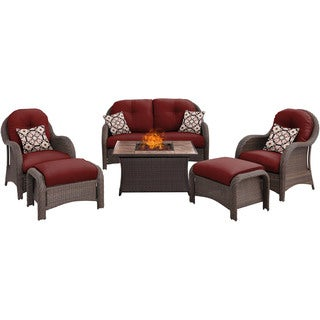 Hanover Outdoor Newport 6-Piece Woven Seating Set in Crimson Red with Fire Pit Table