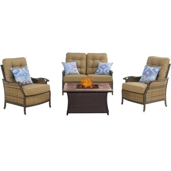 Shop Hanover Outdoor Hudson Square 4 Piece Lounge Set With A Fire