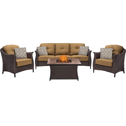 Hanover Outdoor Gramercy 4-Piece Woven Fire Pit Set in Country Cork