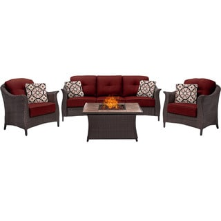 Hanover Outdoor Gramercy 4-Piece Woven Fire Pit Set in Crimson Red