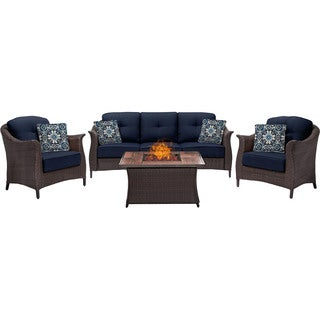 Hanover Outdoor Gramercy 4-Piece Woven Fire Pit Set in Navy Blue