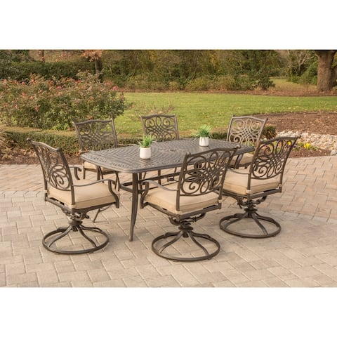 Hanover Outdoor Traditions 7-Piece Dining Set with Six Swivel Dining Chairs and a Large 72 x 38 in. Dining Table