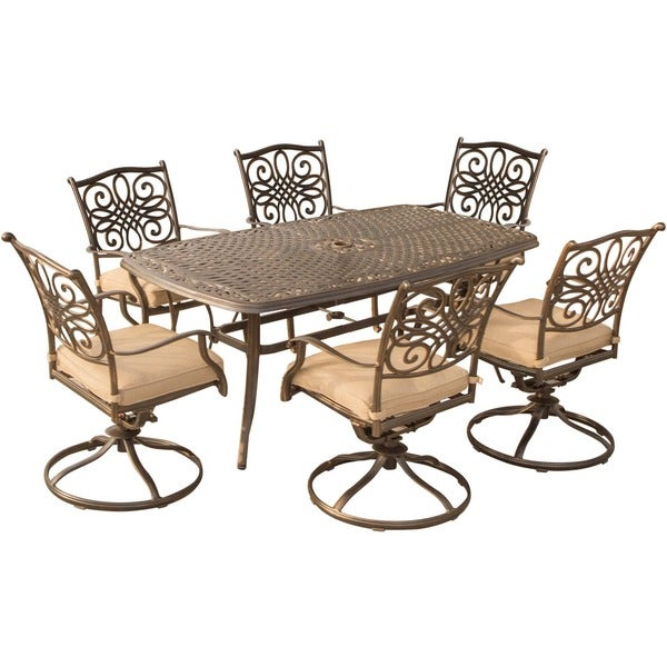 Hanover Outdoor Traditions 7 Piece Dining Set With Six Swivel Dining Chairs  And A Large