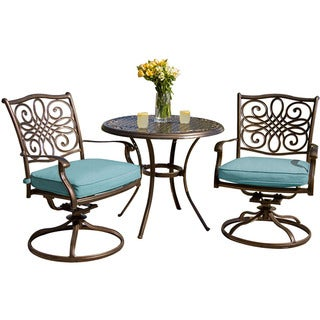 Hanover Outdoor Traditions 3-Piece Bistro Set with Two Swivel Rockers and a 32 in. Round Table