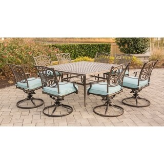 Hanover Outdoor Traditions 9-Piece Square Dining Set with Eight Swivel Dining Chairs and a Large 60 x 60 in. Dining Table