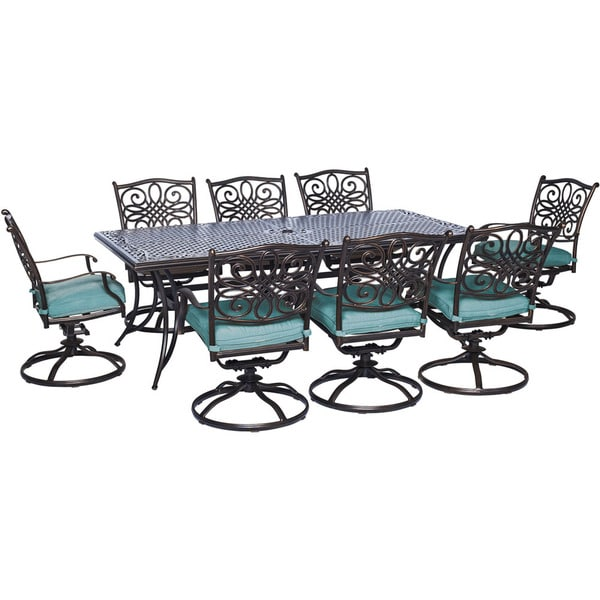Hanover Outdoor Traditions 9 Piece Dining Set With Eight Swivel Dining  Chairs And A Large