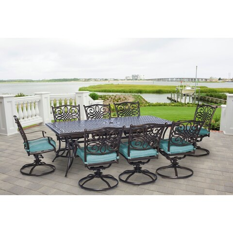 Hanover Outdoor Traditions 9-Piece Dining Set with Eight Swivel Dining Chairs and a Large 84 x 42 in. Dining Table