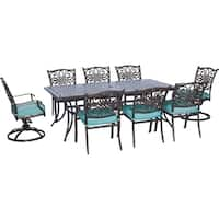 Hanover Outdoor Traditions 9-Piece Dining Set with Six Dining Chairs, Two Swivel Rockers and one Extra-Long Dining Table