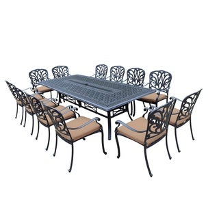 Sunbrella Aluminum 13-piece set with 103 x 47-inch Dining Table, 12 Stackable Chairs, with Sunbrella Cushions