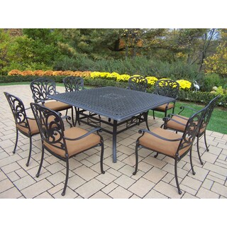 Dining Set, with Square Table, 8 Stackable Dining Chairs with Cushions