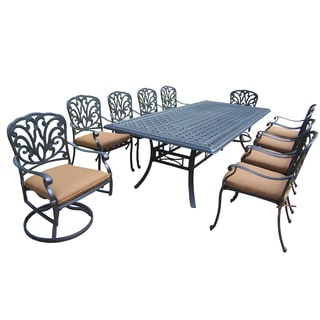 Oakland Living Sunbrella Aluminum 11 Pc Dining set with Table, 8 Stackable Chairs, and 2 Swivel Rockers with Cushions