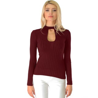 Ribbed Long-Sleeve Cutout Top
