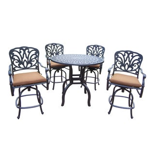 5 pc Bar Set, with 42-inch Bar Table and 4 Cushioned Swivel Bar Stools