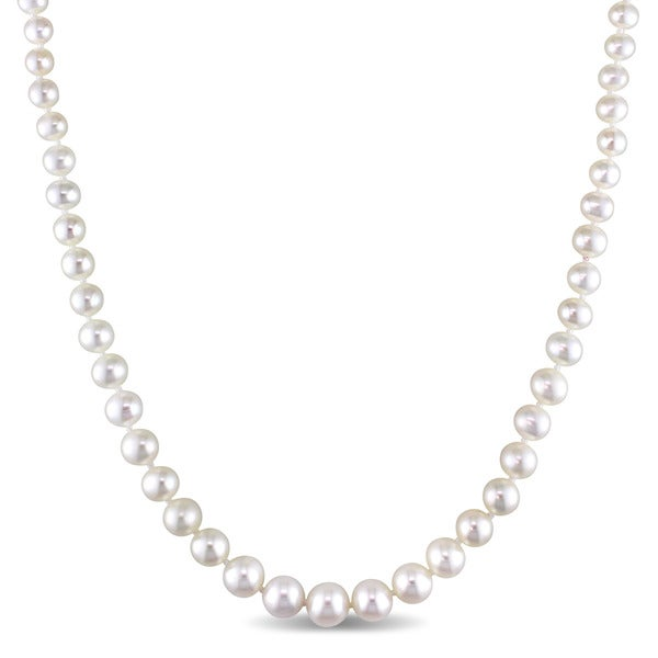 Miadora 4-8mm Freshwater Pearl Graduated Strand Necklace with 14k Yellow Gold Clasp - White