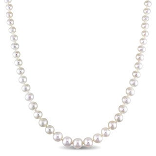 Miadora 4-8mm Freshwater Pearl Graduated Strand Necklace with 14k Yellow Gold Clasp