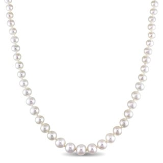Miadora 4-8mm Freshwater Cultured Pearl Graduated Strand Necklace with Sterling Silver Clasp