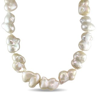 Miadora Signature Collection 16-20mm Freshwater Cultured Keshi Pearl Strand Necklace with Sterling Silver Clasp