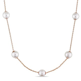 Miadora Signature Collection 7-7.5mm Freshwater Cultured Pearl Tin Cup Station Necklace in 18k Rose Gold